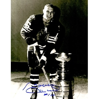 Bobby Hull Signed Chicago Blackhawks On Ice With Stanley Cup 11x14 Photo