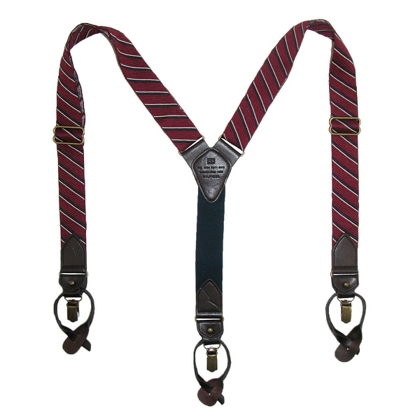 Tommy Hilfiger Men's Stripe Convertible Clip & Button End Dress Suspenders - One size