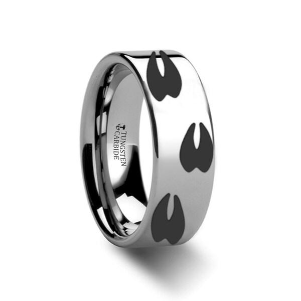 THORSTEN - Animal Track Deer Print Ring Engraved Flat Tungsten Ring - 4mm