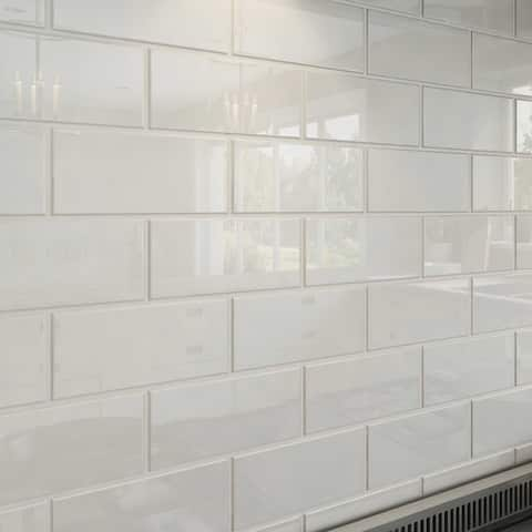 Bright White Subway Tiles (5.5 Square Feet) (44 Pieces per Unit)