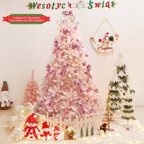 Pink Faux Pvc Christmas Tree With Iron Stand