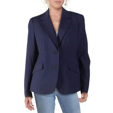 Anne Klein Womens Two-Button Blazer Collar Business - Navy