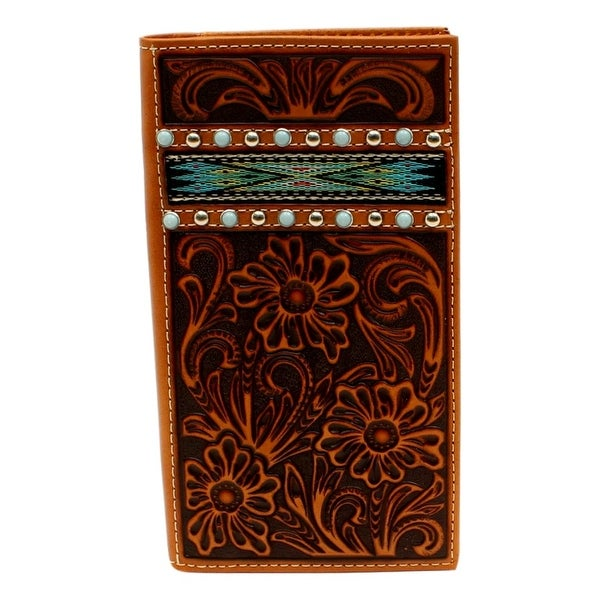 Ariat Western Wallet Mens Rodeo Slim Aztec Inlay Floral Tan - One size