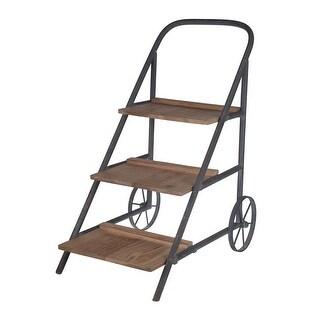 Lilou Vintage Look Wood and Metal 3 Shelf Plant Cart - Black