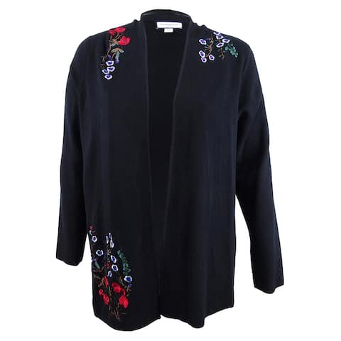 Charter Club Women's Plus Size Embroidered Floral Cardigan (2X, Deep Black) - Deep Black - 2X