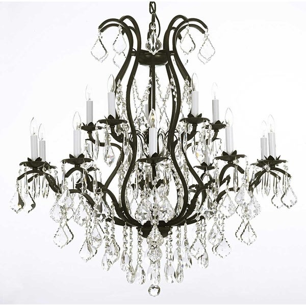 Swarovski Crystal Trimmed Wrought Iron Chandelier Lighting