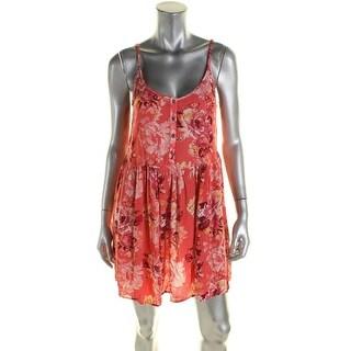 Billabong Womens Casual Dress Floral Print Open Back