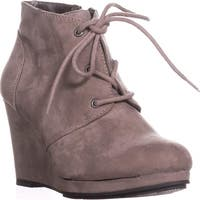 SC35 Alaisi Lace Up Wedge Booties, Grey