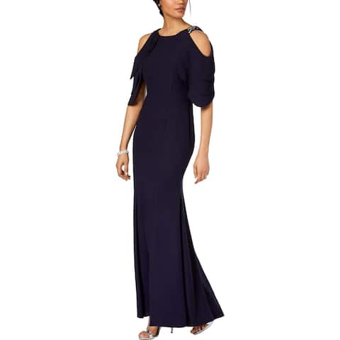 Betsy & Adam Womens Petites Evening Dress Cold Shoulder Full-Length
