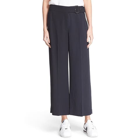 A.L.C. Womens Emily Navy Gaucho Belted Pants