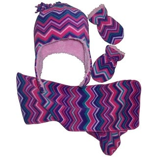 NICE CAPS Girls Chevron Soft Sherpa Lined Hat/Scarf/Mitten Set