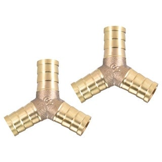 "15/32"" Brass Barb Hose Fitting Tee Y-Shaped 3 Ways Connector Adapter Joiner 2pcs - 12mm 2pcs"