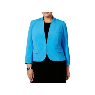 Nine West Womens Plus One-Button Blazer Crepe Stand-Collar - 18W