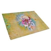 Day of the Dead Flowers Skull Glass Cutting Board, Large