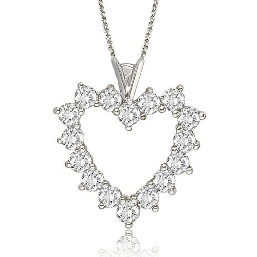 2.50 cttw. 14K White Gold Round Cut Big Diamond Heart Pendant