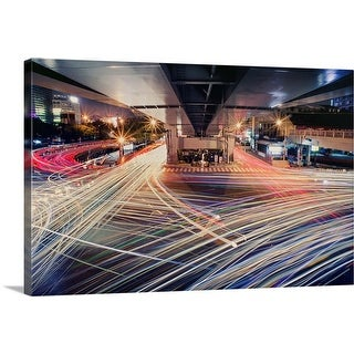 """""""Busy Traffic light trail in Taipei city at night."""" Canvas Wall Art"""