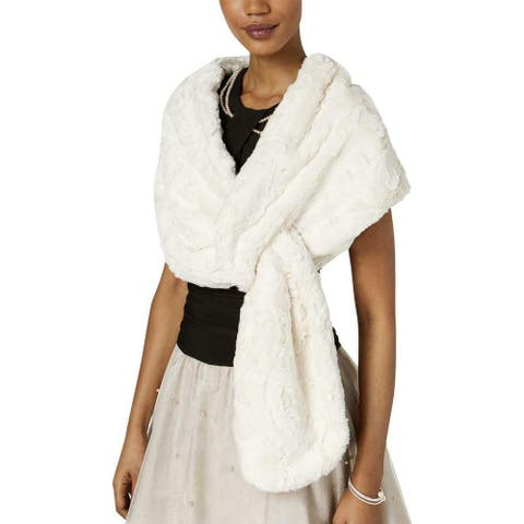 SLNY Womens Faux-Fur White Ivory One Size Shawl/Wrap Pull Through