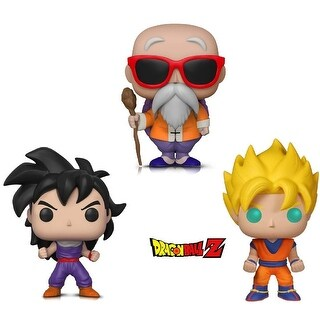 Funko Pop! Animation Dragon Ball Z - Super Saiyan Goku, Master Roshi W/ Staff and Gohan (Training Outfit) (3 Items)