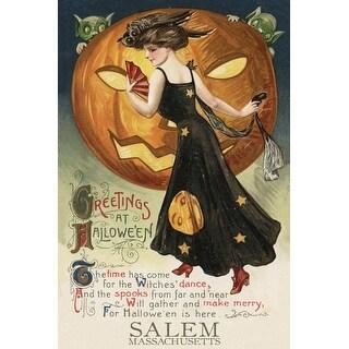 Salem MA - Halloween Witch Dance - Vintage Artwork (Art Print - Multiple Sizes)
