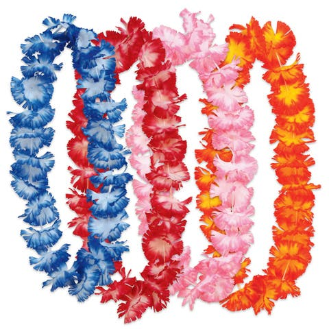 24-Pieces Assorted Colors Hawaiian Floral Leis 34.5""