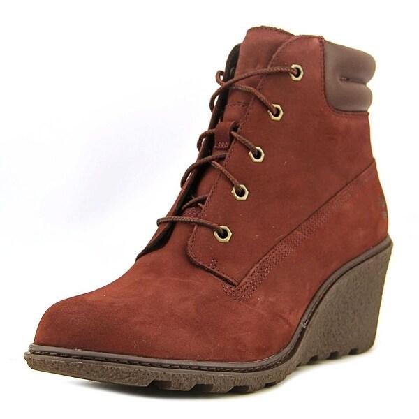 Timberland Amston 6in Women Open Toe Leather Burgundy Wedge Heel