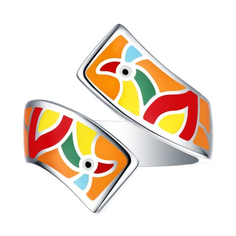 Vedantti Madhubani Art Peacock Multi Color Enamel Bypass Twisted Ring