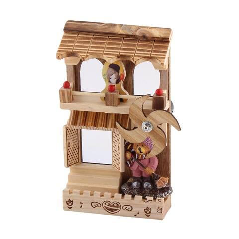 Office Table Wooden Clockwork Rotation Windmill Model Decor Handmade Music Box