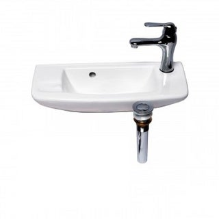 Bathroom Small Wall Mount White Vessel Sink With Chrome Drain Faucet  Overflow