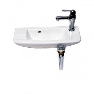 Renovator's Supply Small White Wall Mount Sink with Drain and Faucet