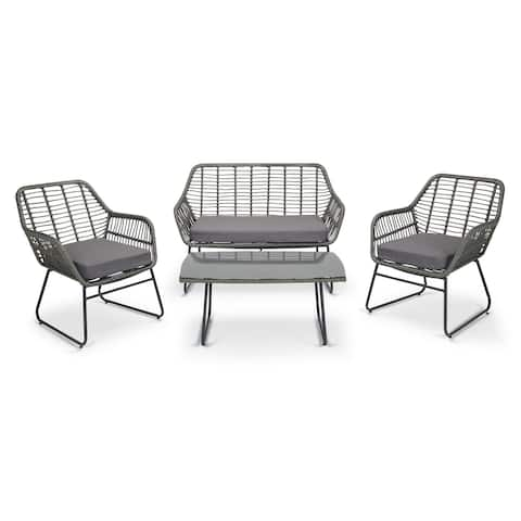 4 piece Outdoor Patio Chat Chair Wicker Conversation Set with Cushion
