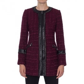 Laundry by Shelli Segal Ribbon Trim Tweed Coat