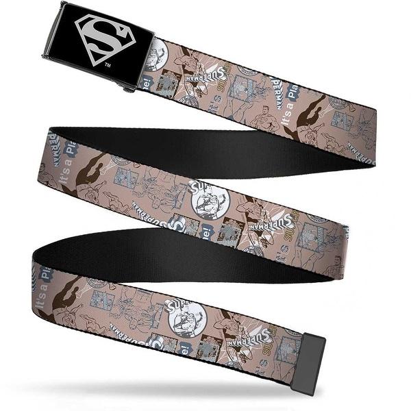 Superman Reverse Brushed Silver Cam Superman Vintage Images Tan Aqua Web Belt