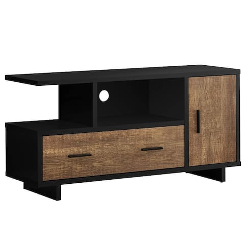 """Offex 48""""L Contemporary Brown Reclaimed Wood - Look TV Stand, Black - 47.25""""x 15.5""""x 23.75"""" - 47.25""""x 15.5""""x 23.75"""""""