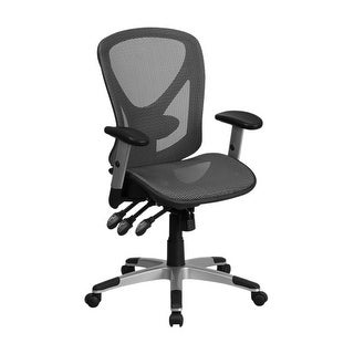 Offex Mid-Back Gray Mesh Executive Swivel Office Chair with Mesh Seat and Back and Triple Paddle Multi-Function Control