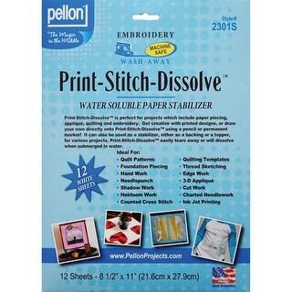 "Print-Stitch-Dissolve Embroidery Paper Stabilizer-White 8.5""X11"" 12/Pkg - White"