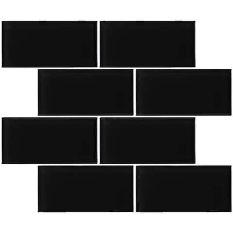 """TileGen. 3"""" x 6"""" Glass Subway Tile in Black Wall Tile (80 tiles/10sqft.)"""