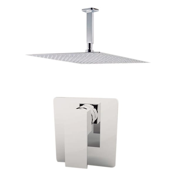 """Aquamoon Milan Shower Set Brushed Nickel With 8"""" Showerhead and Ceiling Shower Arm"""