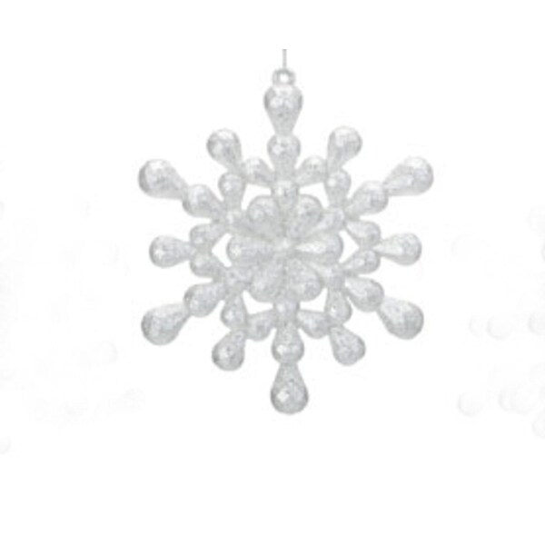 Snowfall Valley Silver Glitter 12-Point Snowflake Christmas Ornament