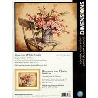 "Roses On White Chair Counted Cross Stitch Kit-14""X11"" 14 Count - beige"