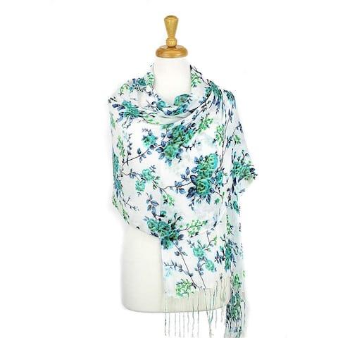 Women's Fashion Floral Soft Wraps Scarves - F1 Fuchsia - Large