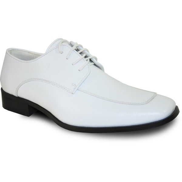 VANGELO Men Dress Shoe TUX-3 Oxford Formal Tuxedo for Prom & Wedding Shoe White Matte - Wide Width Available