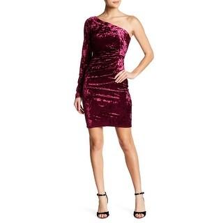 Eliza J Wine Womens Velvet One-Shoulder Sheath Dress