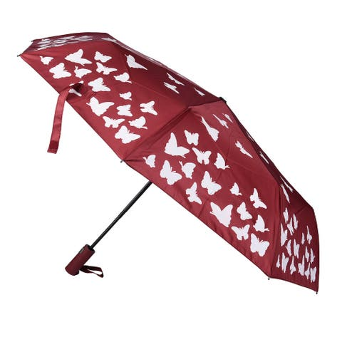 Butterfly Pattern Color Changing Auto Open Folding Umbrella Pink