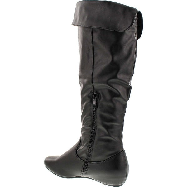 Fashion Focus Nancy-325 Womens Ruched Shaft V Opening Cut On The Top Flat Boots