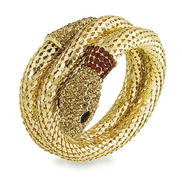 Bling Jewelry Flex Mesh Crystal Snake Bangle Wrap Bracelet Gold Plated