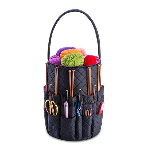 DeNOA Knitting Storage Bag - Yarn & Needle Accessory Bucket w/ Yarn Bags for Craft and Hobby