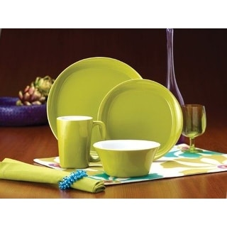 Rachael Ray Dinnerware Round and Square 4-Piece Dinnerware Place Setting Green  sc 1 st  Overstock.com & Rachael Ray Dinnerware For Less | Overstock