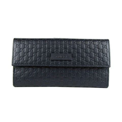 Gucci Women's Dark Blue Microguccissima Leather Continental Wallet 449393 4009 - One Size