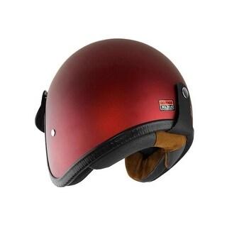 0.75 Open Face Motorcycle Helmet with Visor - Matte Rust Red,