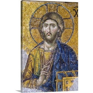 """Turkey, Hagia Sophia Mosque, Close up of  mosaic depicting  Jesus Christ"" Canvas Wall Art"